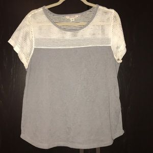 Grey Short Sleeve Shirt with White Mesh